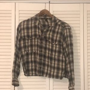 Forever 21 Black and Off-White Plaid Shirt